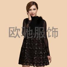 显瘦时尚镂空裙摆厚实上衣亮珠片套头无袖连衣裙