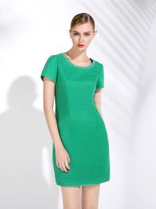 画而诗绿色连衣裙