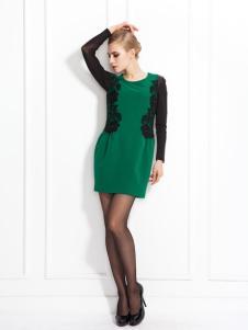 兰卡芙绿色连衣裙
