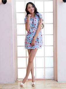 红雨竹印花短袖连衣裙