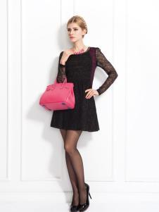 兰卡芙 likefort时尚新款黑色连衣裙
