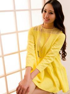 红雨竹黄色长袖连衣裙