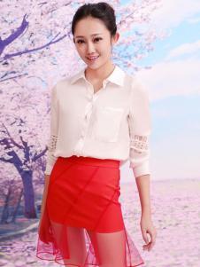 红雨竹红色假两件半裙