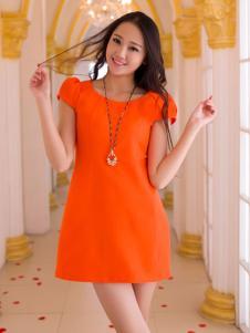 红雨竹橙色夏装连衣裙
