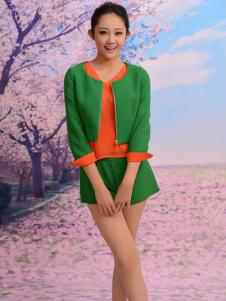 红雨竹绿色套装