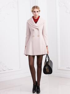 兰卡芙时尚白色中长款毛呢外套