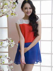 红雨竹蓝色雪纺裙