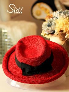 饰典红色遮阳帽