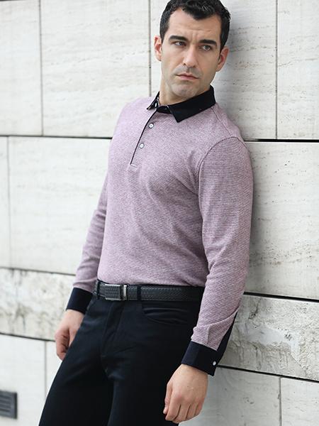 富绅长袖浅紫色T恤