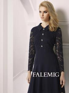 法拉鸣歌女装新款黑色蕾丝连衣裙