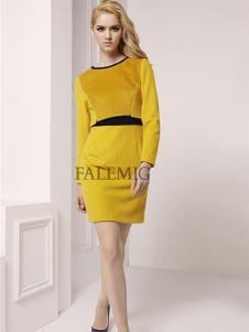 法拉鸣歌女装春季新款黄色连衣裙