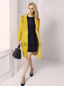 法拉鸣歌女装春季新款黄色长款外套