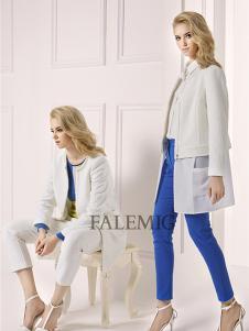 法拉鸣歌女装新款白色长款外套
