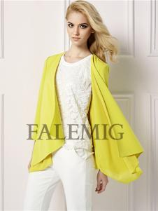 法拉鸣歌女装新款黄色开衫外套