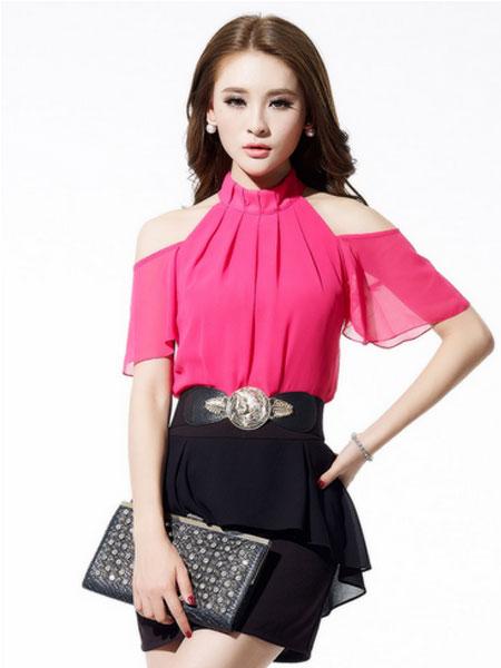 金蝶茜妮2015夏季红色雪纺衫