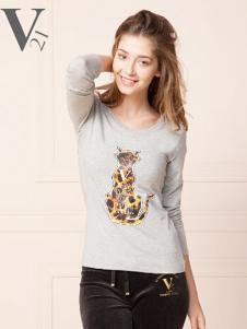 V21动物印花女士T恤