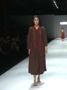 因为ZOLLE女装红色棉麻连衣裙