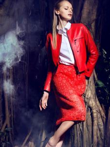 欧兰卡红色皮衣
