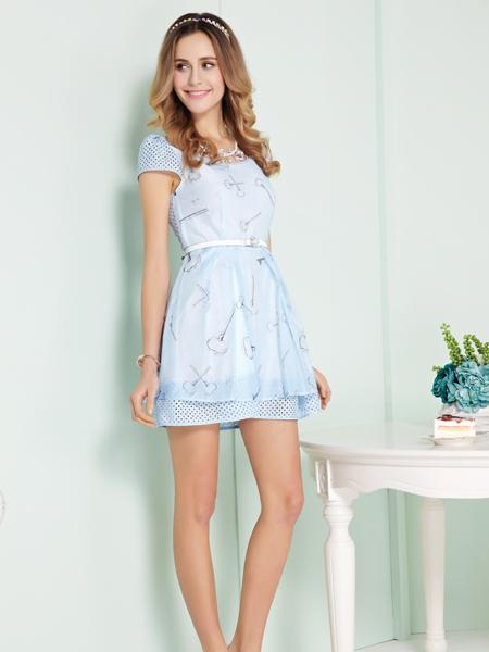 迪奥女装新款浅蓝色连衣裙