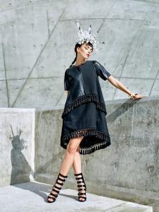 目上女装新款黑色连衣裙