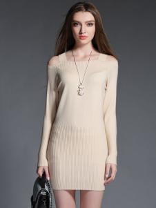 2015卡芭芭丽露肩针织连衣裙