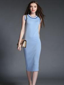 2015卡芭芭丽无袖长款针织连衣裙