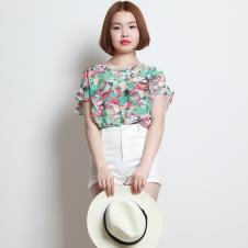 2015夏装新款休闲圆领蝙蝠袖束腰印花上衣Y8237