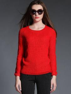 2015卡芭芭丽红色针织衫