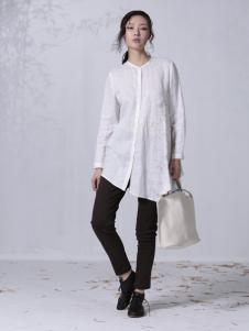 因为新款中长款白色衬衫