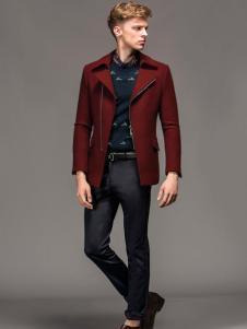 1943s男装秋冬新款红色风衣外套
