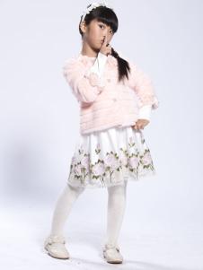 缤果童装粉色皮草