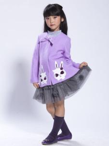 缤果童装2015紫色动物印花外套