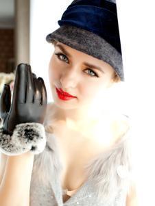 紫宝新款皮手套