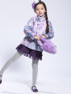缤果女童冬装印花羽绒服