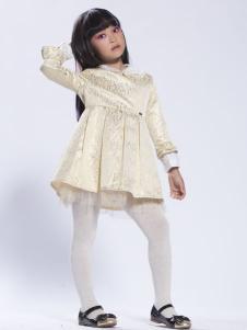 缤果童装米色秋装连衣裙