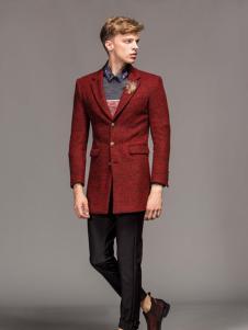 1943s男装新款红色毛呢外套