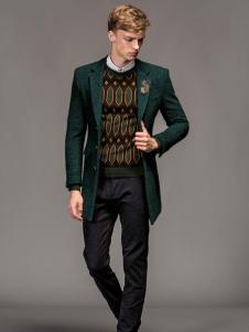 1943S男装新款秋冬新品绿色呢大衣