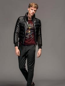 1943S男装新款黑色皮衣外套