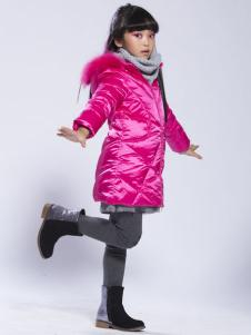 缤果童装2015红色毛领羽绒服