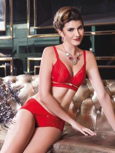 亲闺密语内衣新品红色套装