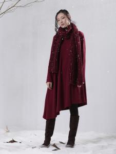 因为女装红色中长款大衣