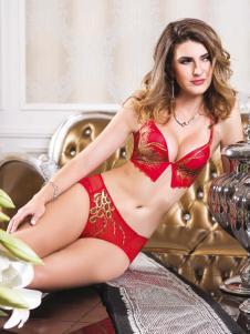 亲闺密语内衣新款红色套装