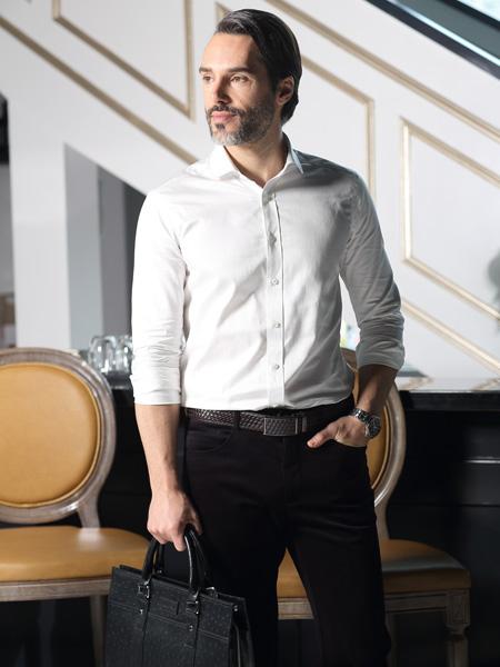 富绅男装白色衬衫