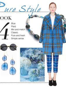 璱妠女装冬季新款蓝色格子外套