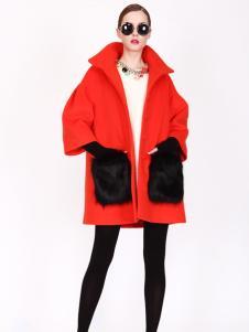 璱妠女装新款宽松红色外套