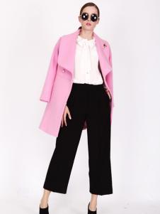 璱妠女装新款粉色中长款毛呢外套