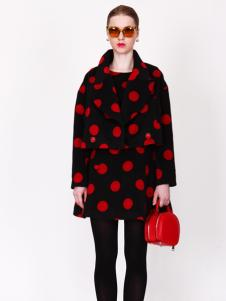 璱妠女装新款红色波点毛呢外套