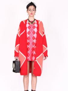 璱妠女装新款红色中长款针织开衫
