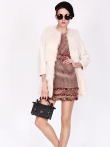 璱妠女装新款白色皮草