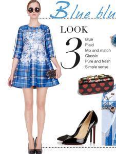 璱妠女装新款蓝色格子连衣裙